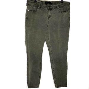 Torrid Denim Womens Plus Size 20R Olive Skinny